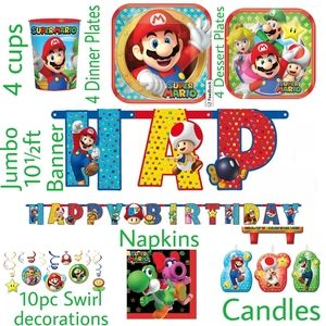 43pc Super Mario Party Decorations Banner Plates